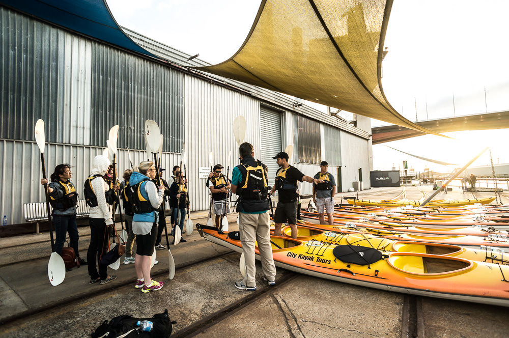 group practicing kayak techniques in melbourne