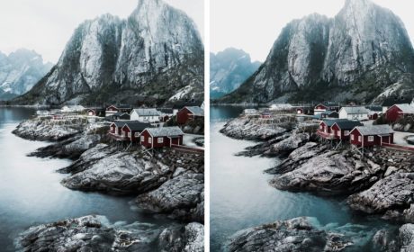 Side by side images of lofoten islands taken with iPhone 7 and Sony A7sII