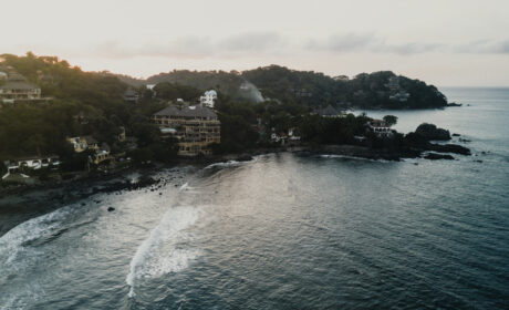 Sayulita sunset from drone