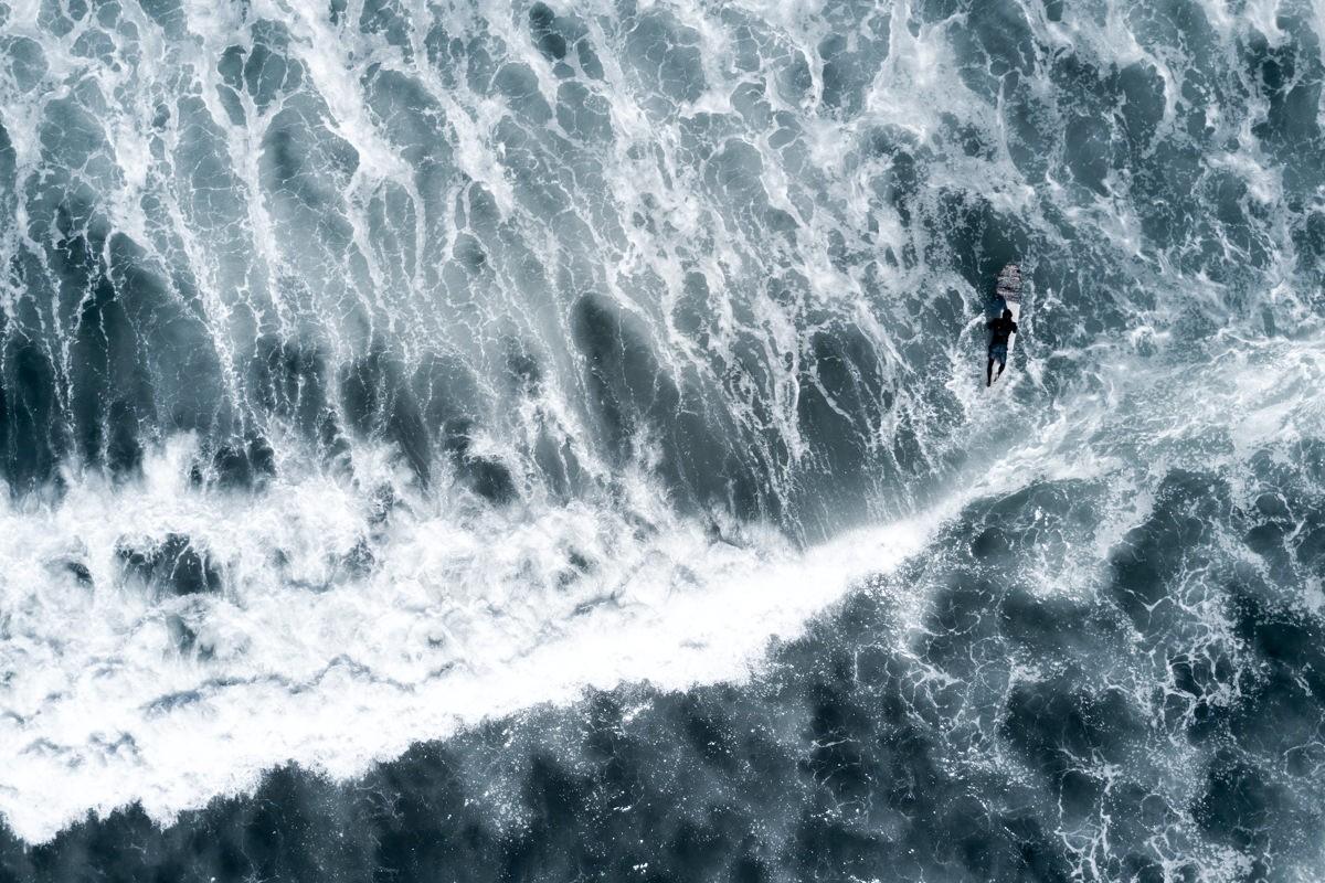 Drone shot of surfer in Sayulita