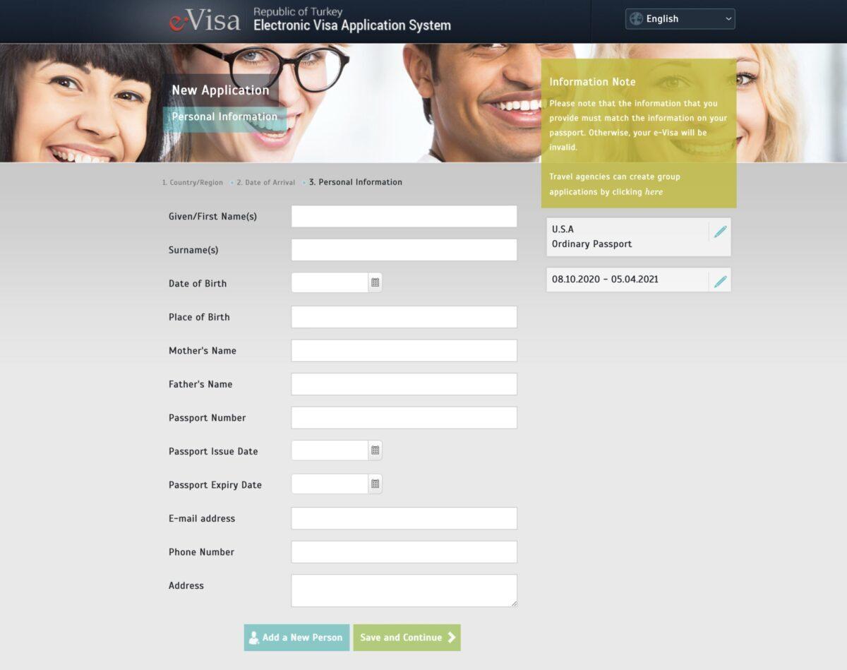 Turkish e-Visa Online Application Questions