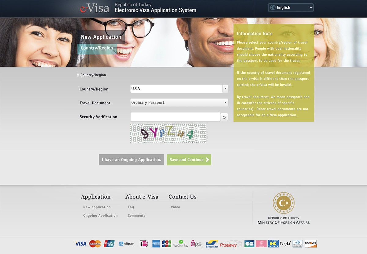 Turkish e-Visa online application cost for US citizens